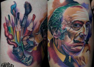 full color tattoo,tatuaj color dali