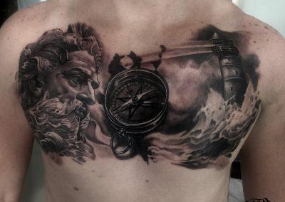 sailing cest tattoo,tatuaj piept marinar