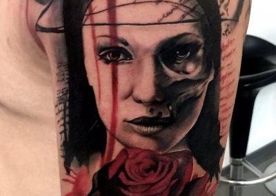 trash polka tattoo,tatuaj trash polka