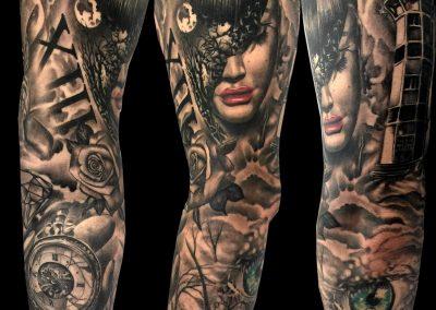 full sleeve tattoo,tatuaj maneca