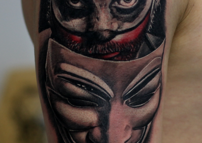 clown tattoo-mask tattoo,Anonymous tattoo