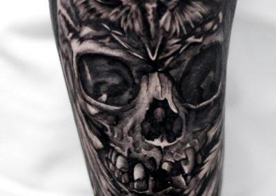 owl tattoo-skull tattoo-tatuaj bufnita-tatuaj craniu