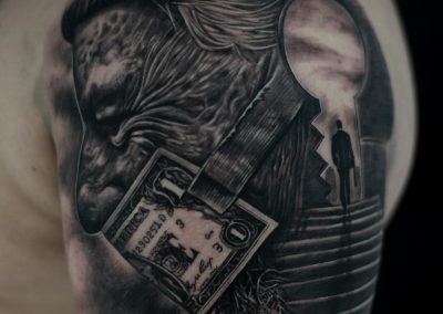 Black-and-grey-tattoo-the-key-to-success