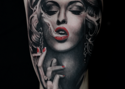 smoking girl tattoo